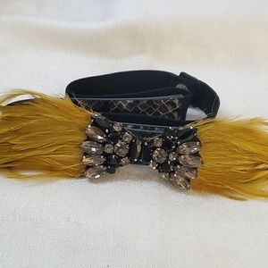 LOFT Mustard Feather Jeweled Belt M #1300